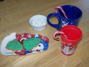 hot chocolate, sugar cookies, and marshmallows